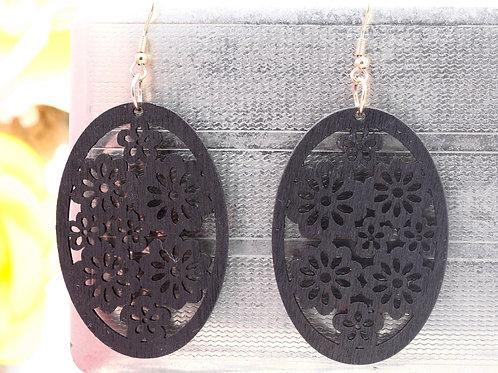 Wood  Black Flowers  Earrings