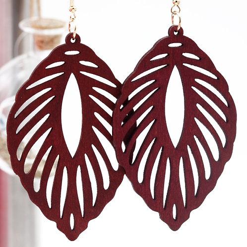 Wood Leaf Red Earrings