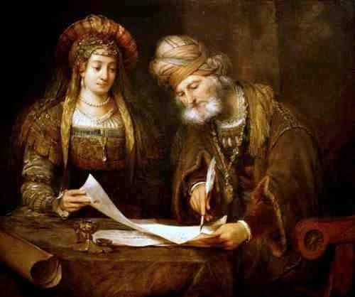 aert_de_gelder_-_esther_y_mardoqueo_escribiendo_la_primera_carta_del_purim