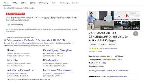 Beispiel eines Google My Business Profiles