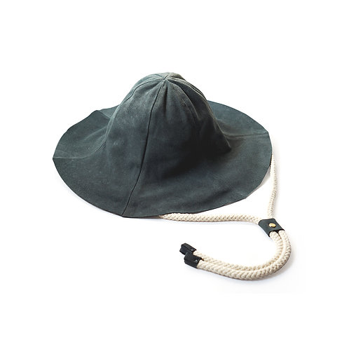 Leather Tulip Hat (Navy)