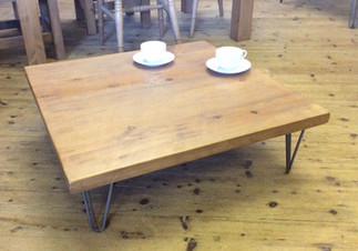Low rustic coffee table with hairpin legs
