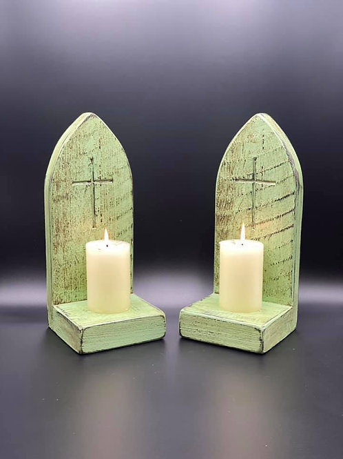 Pair of Green Gothic style candle holders sconces with carved Crucifix