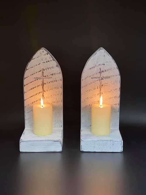 Pair of white Gothic style candle holders/sconces with a carved Crucifix