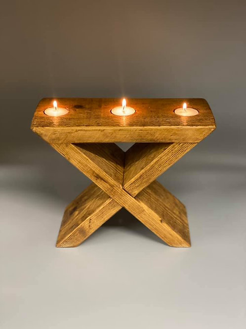 Rustic X tea light holder and candle stand