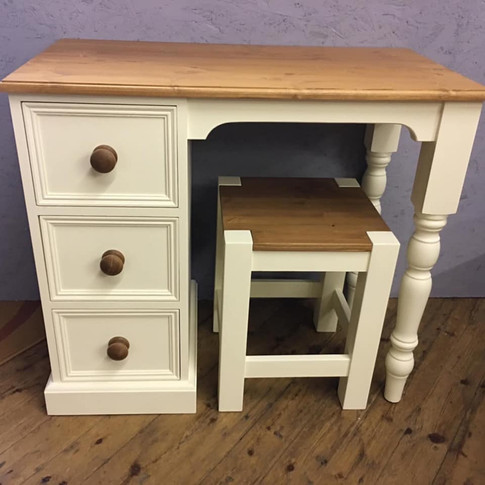 Painted Single Pedestal dressing table with stool