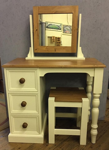 Painted Single pedestal desk, mirror and stool