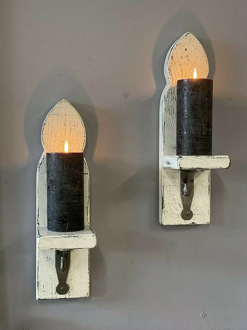 Pair of rustic painted distressed shabby chic candle sconces with brackets.