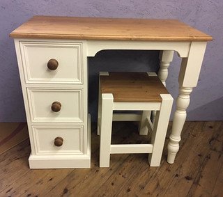White painted desk and stool