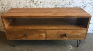 Rustic hairpin leg 2 drawer tv unit