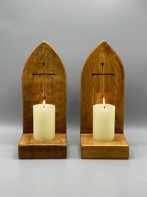 Pair of Gothic style candle holders sconces with carved Crucifix
