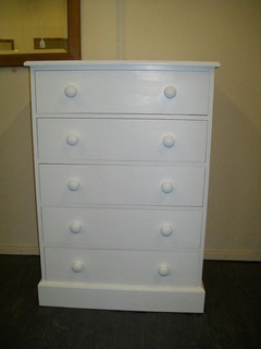 5 drawer high painted chest of drawers