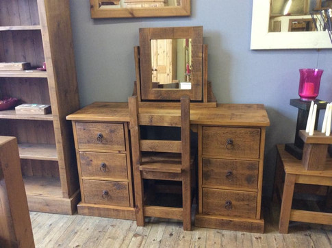 Rustic Twin Pedestal  dressing table with mirror