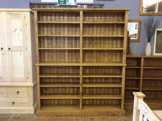 Large rustic bookcase made in 2 section for access
