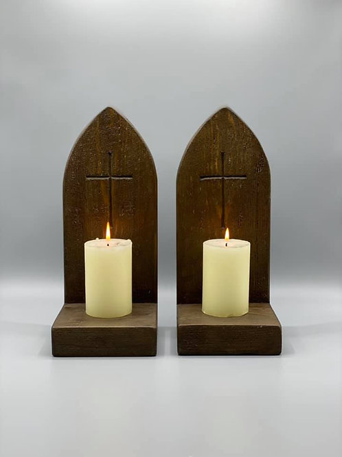 Pair of Dark Oak Coloured Gothic style candle holders with carved Crucifix