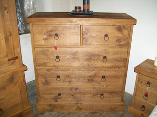 Rustic 2 over 3 chest of drawers with distressed metal handles