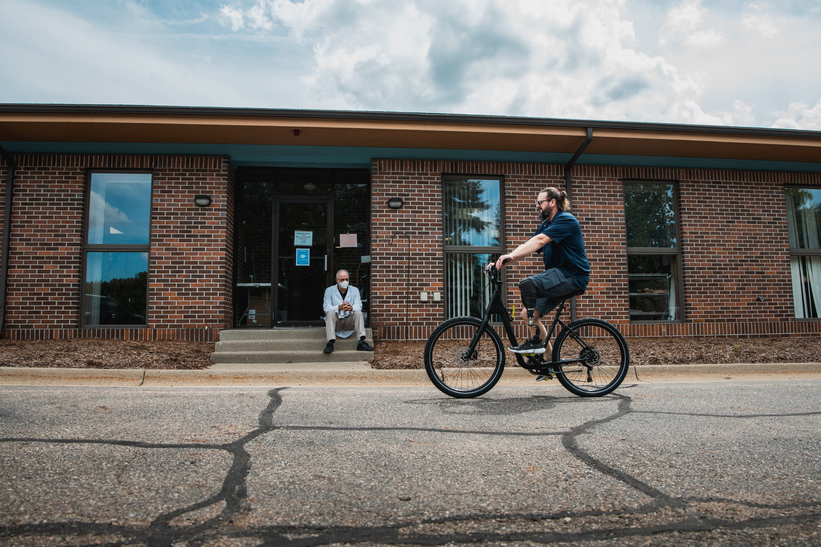 Todd testing his biking prosthesis