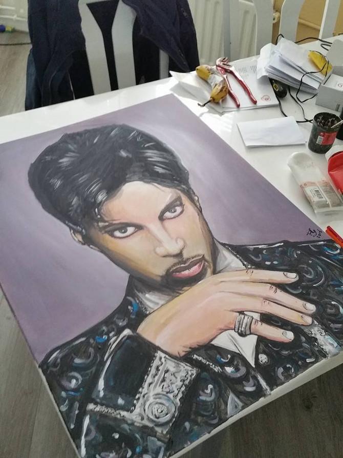 Prince geschilderd op canvas