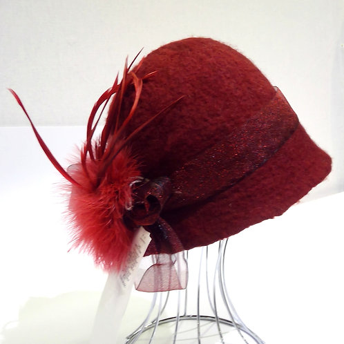 Burgundy Felted Hat