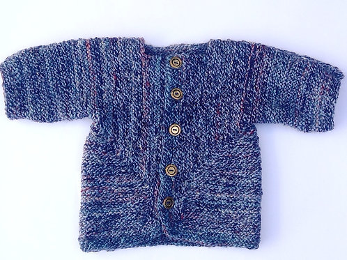 Childs knitted jacket with hand spun wool