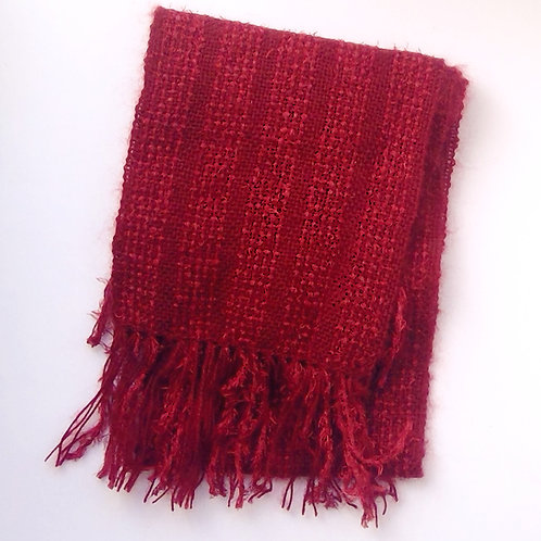 Hand Woven Red textured scarf