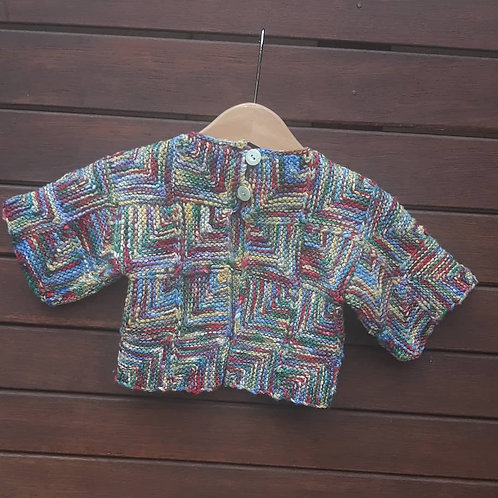 Childs hand knitted patchwork top