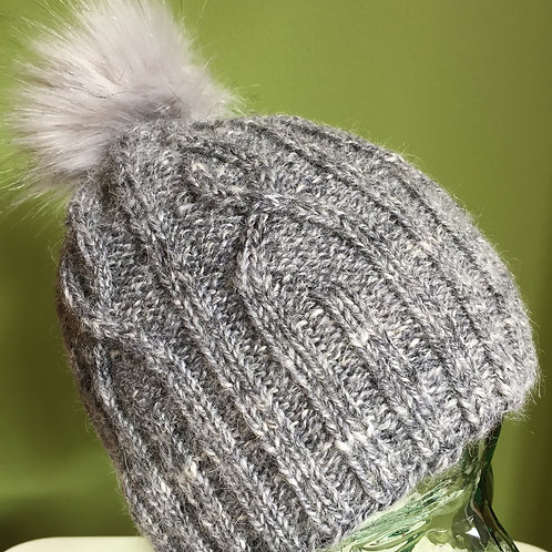 Cabled Light Grey Beanie
