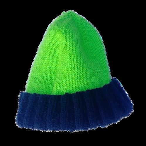 Adult hi-vis green & blue beanie