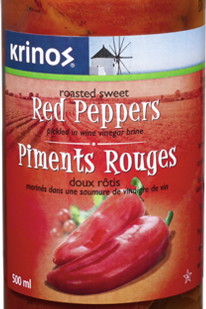 KRINOS SWEET RED PEPPERS (CASE @ 12x500ml)