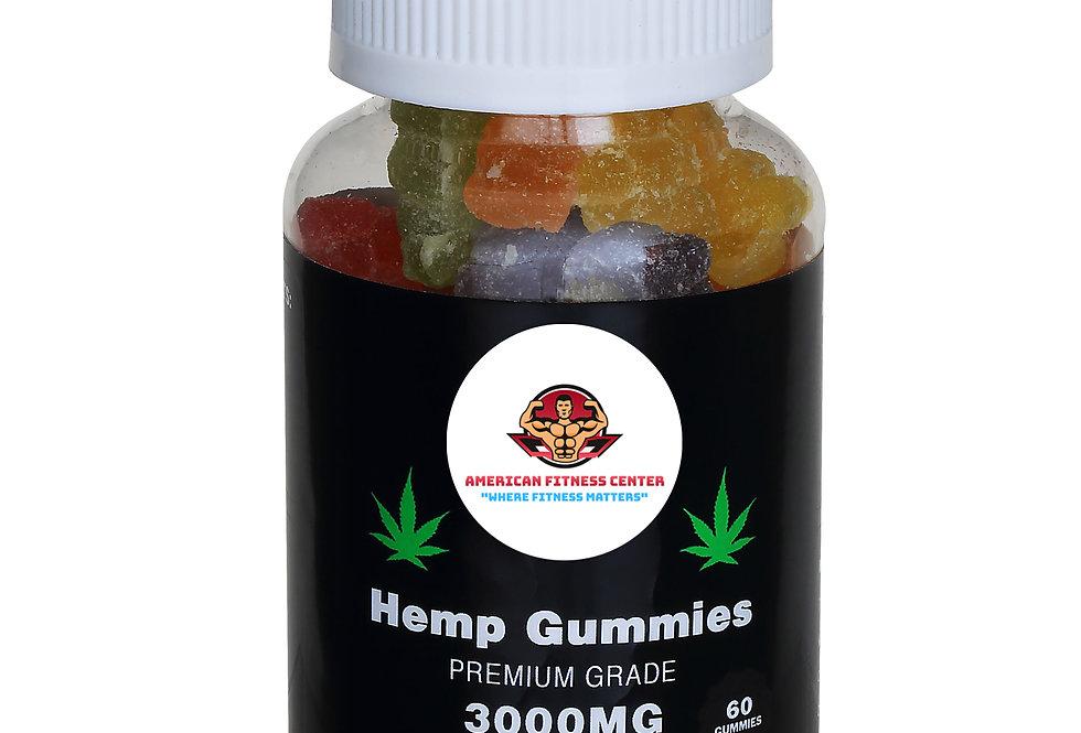AFC Vegan Hemp Seed Oil Gummies With Pectin - 3000mg - 60 Gummies - 50mg / Gummy