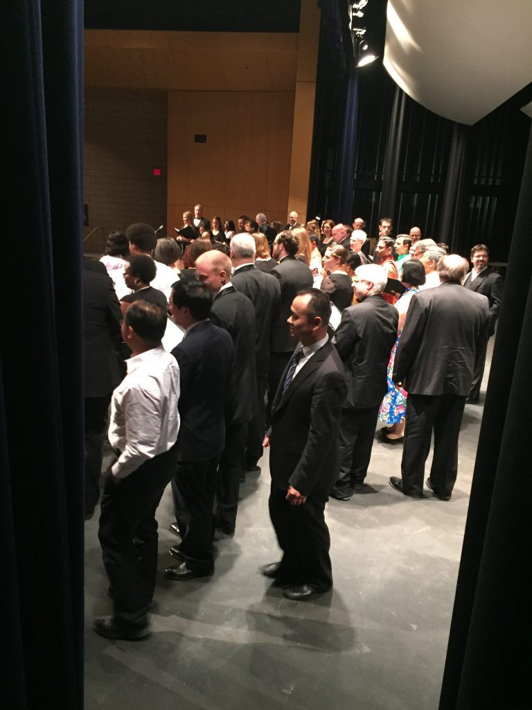A view of the concert finale from the wings