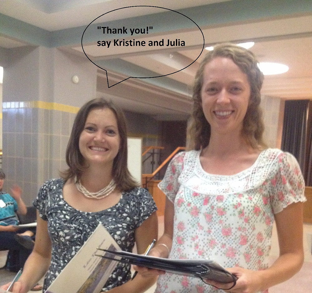 Kristine and Julia say Thank you!
