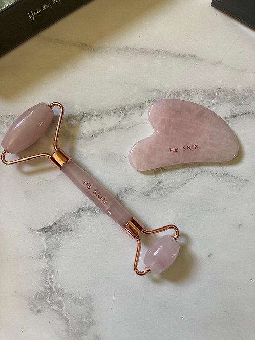 Rose Quartz Roller & Guash massage Tool