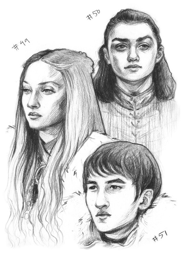 Arya, Sansa and Bran Stark