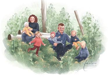 Familieportrett med bakgrunn