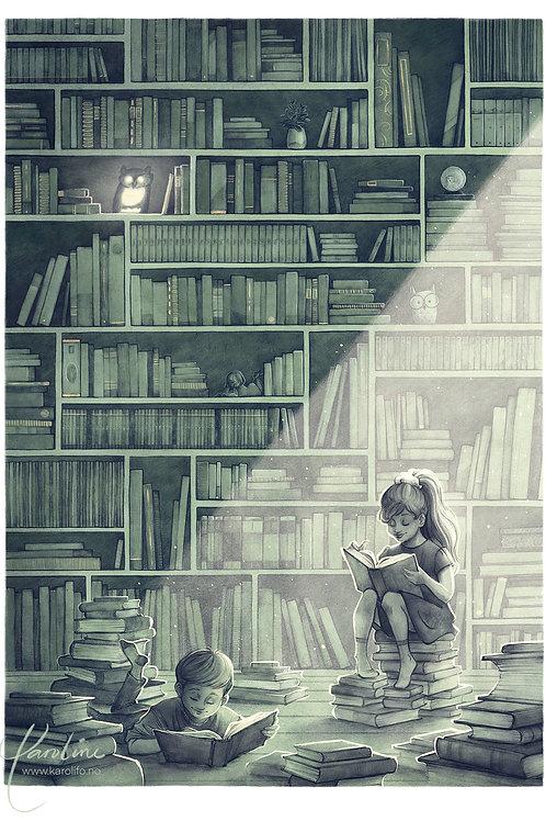 Bibliotek - kunsttrykk