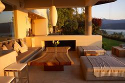 Terraza chimenea exterior