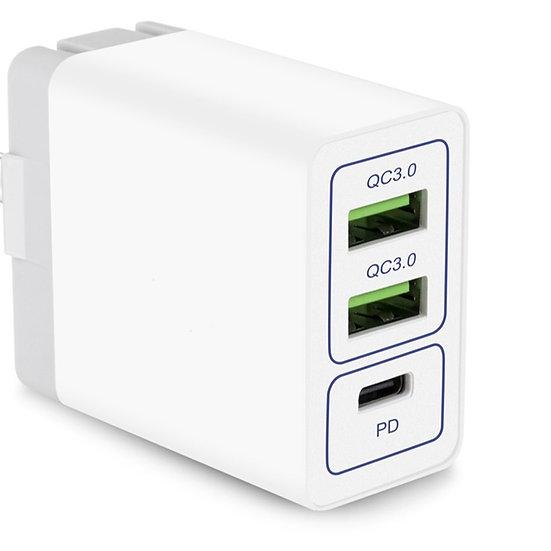 SIPU; QC & PD Ladegeraet: Quick Charge USB-Charger, 2x USB QC-3.0 + PD
