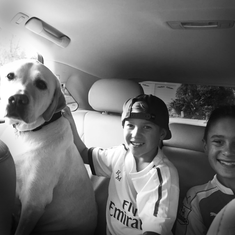 Two boys with a dog in the backseat of a car in black and white