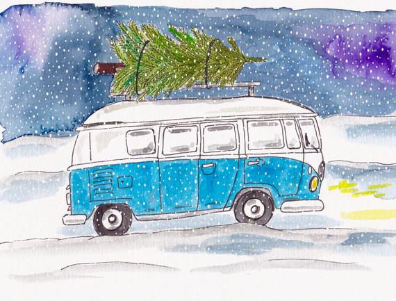 Blauer Bus im Schnee