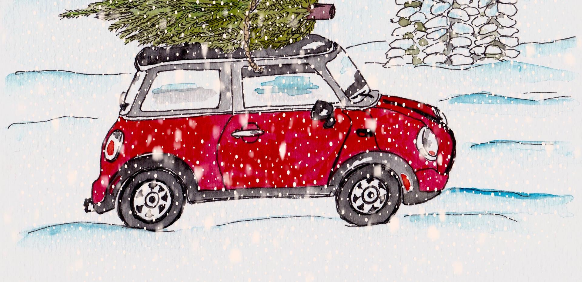 Roter Mini im Schnee