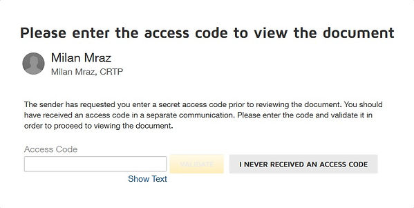 Sample access code confirmation screen