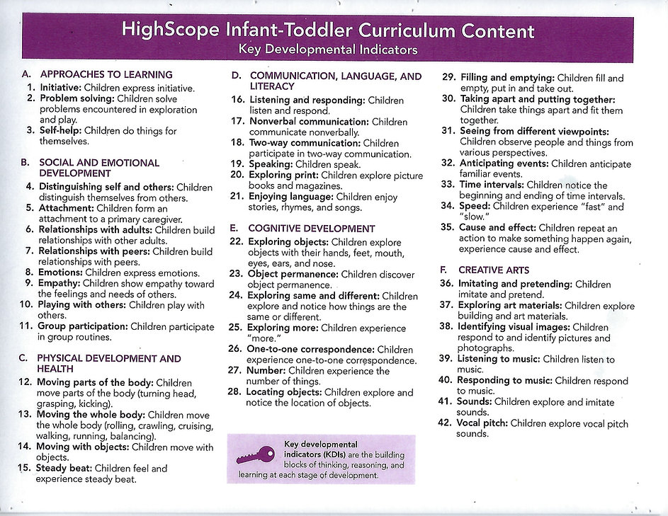 highscope infant toddler curriculum cont
