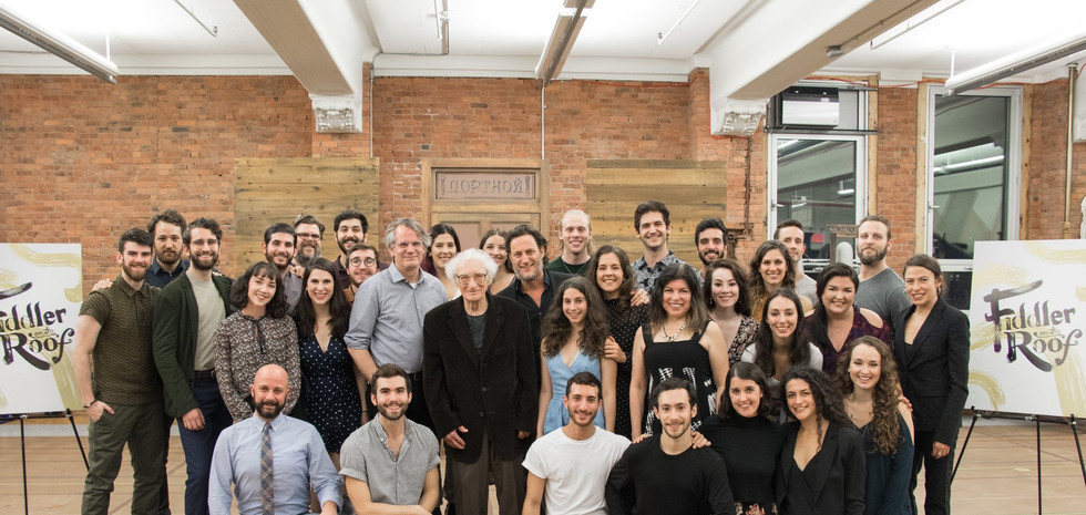 Cast of FIDDLER ON THE ROOF with Director, Bartlett Sher & Lyricist, Sheldon Harnick
