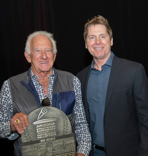 Bob Uecker and Cactus League Hall of Fame Director Tim Sheridan
