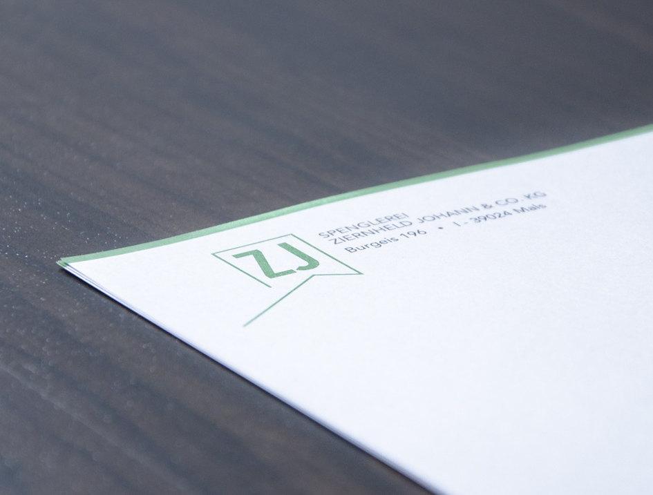 Briefpapier Spenglerei Ziernheld Johann