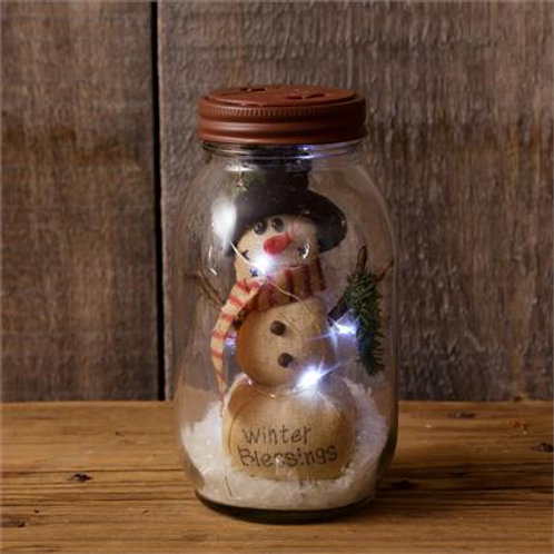 Glass Jar - Snowman, Winter Blessings