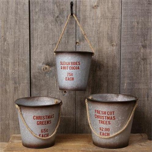 Buckets - Rope Handle Sleigh, Christmas, Trees