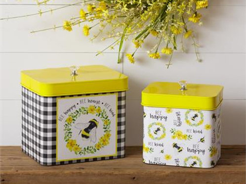 Bee Happy, Honest, Kind Containers with Lids (2Pk)