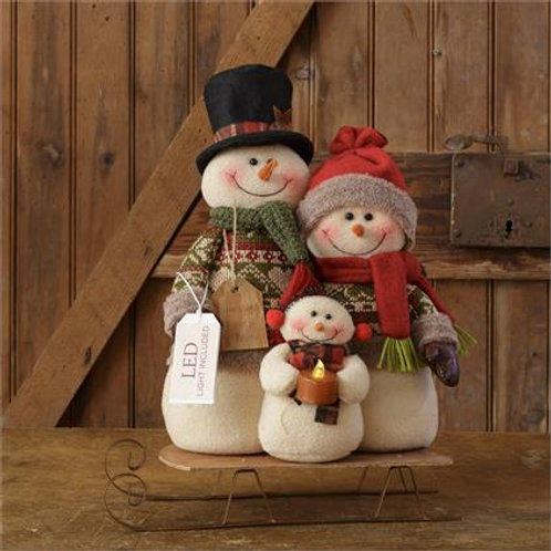 Snowman Family On Sled, Led Light